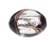 Glass Lamp Bead 15x13mm Oval Black/Crystal/Gold Silver Foiled